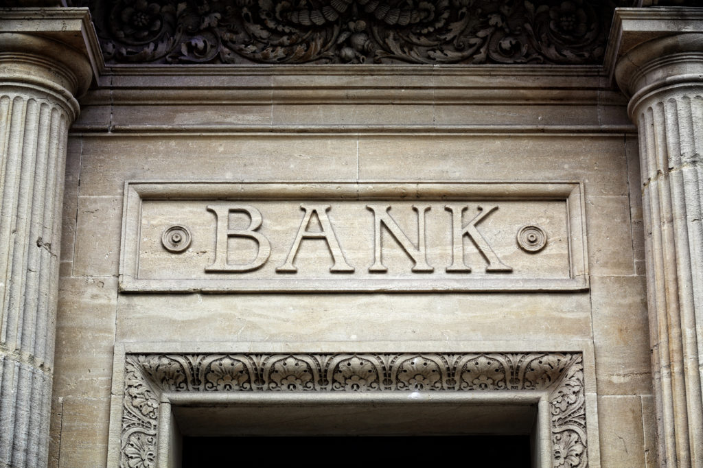 Bank sign above doorway