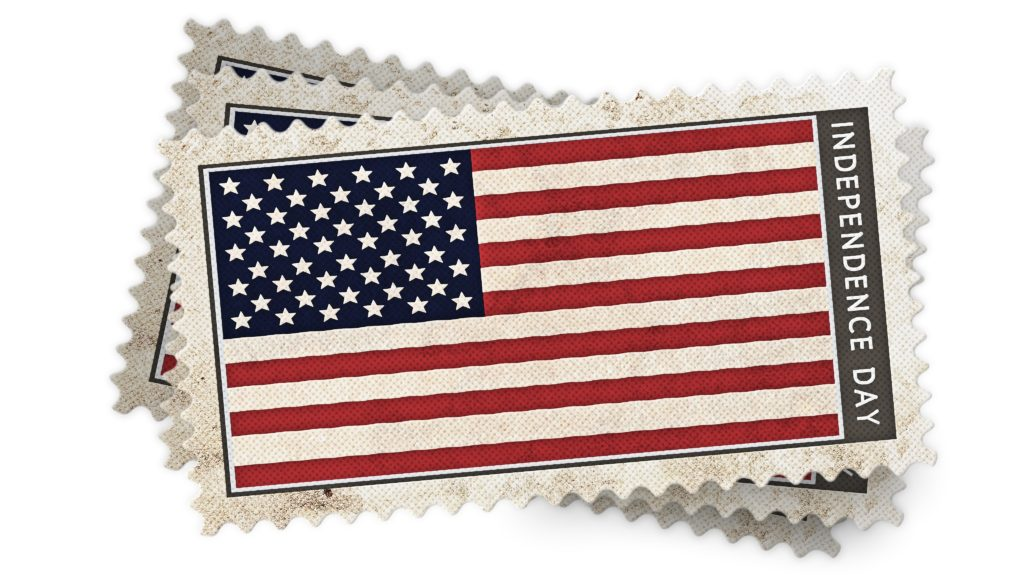 Three flag stamps